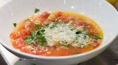A quick and easy soup from chef Amanda Cohen that pops with flavors of tomato, rosemary and lemon. This soup was included her Cohen's The Key 3 segment on The Splendid Table.