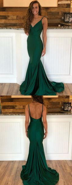 63142d2a37 Emerald Green V Neck Mermaid Prom Dresses with Sweep Train