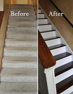 No More Carpet On The Stairs.I Like The Traditional Look And Feel Of Stairs  Without Carpet. Would LOVE To Do This At My House.