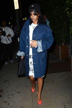 Denim coat with neon heels.