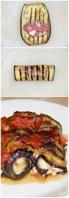 Involtini di melanzane pugliresi con carne macinata, fiordilatte e pomodoro