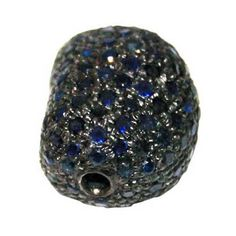 Blue Sapphire Spacer Bead Finding Pave 925 Sterling Silver Gemstone Fine Jewelry #Handmade