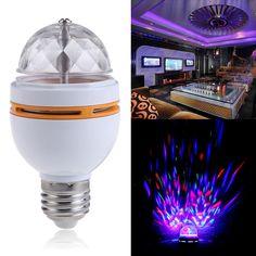 E27 colorido rgb led giratoria luz de la etapa del disco de cristal led de la lámpara del bulbo luces de discoteca de luz láser partido luz de la etapa de dmx