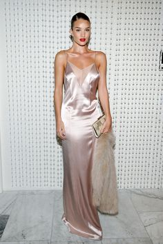 Rosie Huntington-Whiteley Shows How to Style a Slip Dress-Wmag