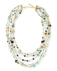 Five-Row+Amazonite+Beaded+Necklace+by+Kenneth+Jay+Lane+at+Neiman+Marcus.