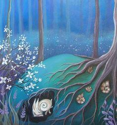 """A fairytale art print titled 'Sleeping'  Mystical and magical. Art print of an original painting by Amanda Jane Clark."""