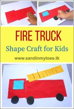 Hands: Fire Truck Shape Craft Simple fire truck craft for toddlers and preschoolers to help them identify shapes.Simple fire truck craft for toddlers and preschoolers to help them identify shapes. Preschool Projects, Preschool Themes, Toddler Preschool, Toddler Crafts, Preschool Transportation Crafts, Preschool Family, Transportation Theme, Craft Activities, Art Projects