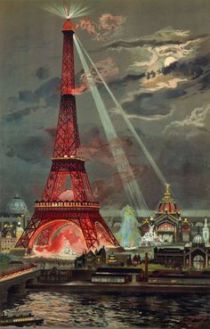 Poster depiction of the Eiffel Tower at the Exposition Universelle of 1889.