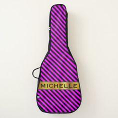 Name & Simple Fuchsia & Black Stripes Pattern Guitar Case - plain gifts style diy cyo