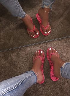 Cute Sandals, Sport Sandals, Cute Shoes, Me Too Shoes, Bling Sandals, Flip Flop Shoes, Flip Flops, Pink Snake, Studded Heels