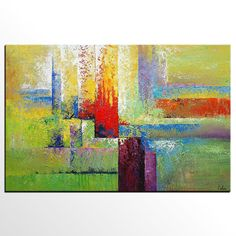 Large Art, Oil Painting, Cityscape Painting, Canvas Art, Framed Art, Abstract…