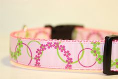 Flowers Circles Pink/Green Large Nylon Adjustable by collarfulpets, $12.49