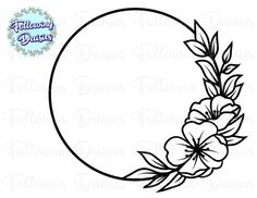 Tropical Frames, Hand Embroidery Patterns Flowers, Circle Template, Flower Circle, Floral Drawing, Frame Clipart, Monogram Frame, Silhouette Cameo Projects, Card Sketches