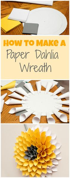 Looks similar to the Christmas wreaths in Cairns Library 2014 DIY paper wreath tutorial. This dahlia paper wreath is ready for spring and would be super cute over your mantel or on the front door. Cute Crafts, Crafts To Do, Crafts For Kids, Arts And Crafts, Easy Crafts With Paper, Diy Paper Crafts, Paper Dahlia, Papier Diy, Diy Y Manualidades