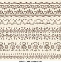 Clip Art of Henna Doodle Border Designs Vector k8186257 - Search Clipart…
