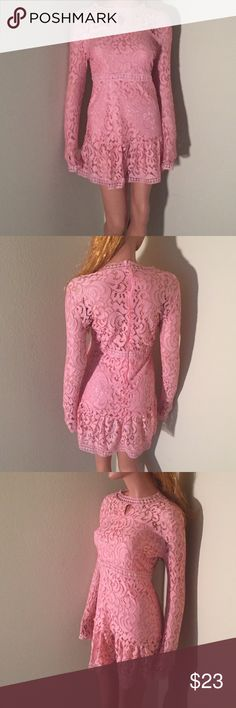 Sexy Long sleeved Cocktail Mini Dress 💋Beautiful party/ cocktail mini dress.                  Color: Bright pink.                                                     Size: M Dresses Mini