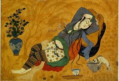 Mir Afzal of Tun – Young Woman with a Dog (approx. 1640) Nothing like a little ancient cheesecake to give you an idea of how undergarments were put together.
