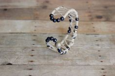 Bracelet Navyblue and silver beaded/ wired by mixandmatchEledesign, $15.00