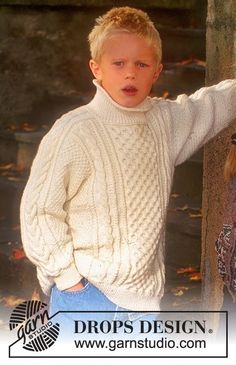 Little Sailor - Sweater in Karisma with cables - Free pattern by DROPS Design