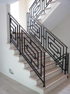 me ~ Interior Railings : Signature Style in 2020 Staircase Railing Design, Interior Stair Railing, Modern Stair Railing, Home Stairs Design, Staircase Handrail, Modern Stairs, Stair Case Railing Ideas, Railings For Stairs, Wrought Iron Staircase