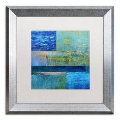 """Trademark Art """"Essence of Blue"""" by Michelle Calkins Framed Painting Print Size: 1"""