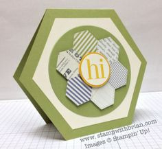 handmade card by Brian King ... hexagon shaped card with a hexagon flower shape ... clever cutting from patterned paper ... like the two contrasting circle layers and the the calming tones of blue and green ... great card! ... Stampin' Up!