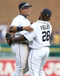Miguel Cabrera and Prince Fielder hugging.