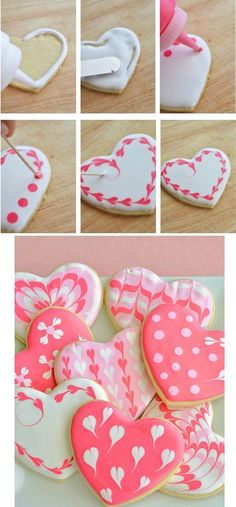 Sugar Cookie Hearts with EASY Royal Icing - Heart, heart biscuits for Mother& Day, Valentine& Day or Father& Day quickly and - Heart Cookies, Iced Cookies, Cookies Et Biscuits, Cupcake Cookies, Galletas Cookies, Heart Shaped Cookies, Super Cookies, Iced Biscuits, Vanilla Cookies