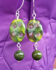 Eco Green Jade Glass Earrings, Sterling Silver Vintage Art Glass Earrings, Eco Friendly Up cycled Vegan Earrings by WaterRhythmGems on Etsy