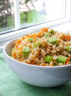 Edamame and Avocado Quinoa Salad - Cooking Quinoa: OMG so good! Switched up the  dressing ingredients and served it on a bed of spring mix.