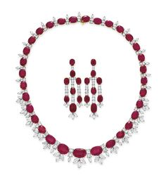 A set of ruby and diamond jewelry #earrings #necklace #christiesjewels