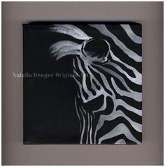 Zebra Original Painting 6x6 Canvas Painting Wild by NataliaDENGER