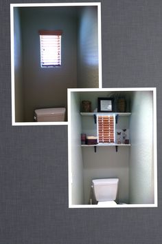 My bathroom toilet room remodel. $20 is all it took. Used left over paint and the items I gathered from around the house. Will add a wreath or picture over the toilet soon.