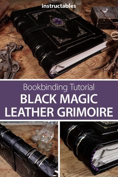 Follow along with this in depth bookbinding tutorial to make a black magic leather grimoire with amethyst centerpiece. #leatherworking #Halloween #leatherbound #spellbook #notebook #journal #papercraft