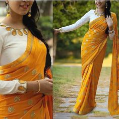 Buy this adorable saree for just 1600 INR To buy WhatsApp @ 9054562754 Indian Blouse, Indian Sarees, Indian Wear, Indian Style, Blouse Patterns, Saree Blouse Designs, Sewing Patterns, Crop Top Designs, Modern Saree
