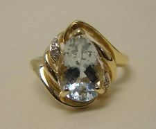SOLID 10K YELLOW GOLD PEAR AQUAMARINE RING SMALL DIAMOND ACCENT 2.2g SIZE 7.5