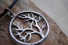 Rustic Sterling Silver Tree Pendant by ihanajewelry on Etsy