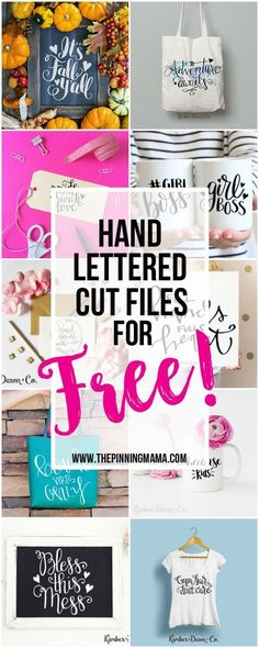 Free Hand Lettered Cut FIles for your Silhouette CAMEO or Cricut cutting machine!  So many craft ideas for these cute cut files!  SVG, DXF and PNG files.