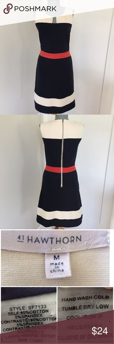 """41 Hawthorn Navy/Off White/Red Fit &Flare M Dress. 41 Hawthorn Navy/Off White/Red Fit &Flare Dress. Size M Flat lay measurements. Between underarms 17 1/2"""". Waist 15 1/4"""". Length 36"""". Very good condition. •••••This is a FIRM PRICE•••••• 41 Hawthorn Dresses Midi"""