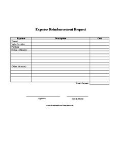a simple printable form on which employees can request reimbursement of specific expenses free to