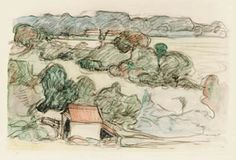 Robert Polhill Bevan. Near Applehayes. ca.1912-15. Watercolour and black crayon. This is a study for a painting of the same title.