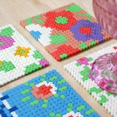 Make a set of vintage floral Hama (perler) bead coasters in this easy step-by-step tutorial.
