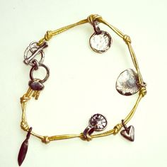 Gold leather bracelet Double leather cords, Sterling silver charms toggle closures, hand made, nwot Jewelry Bracelets