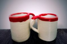White clay coffee cups. Red