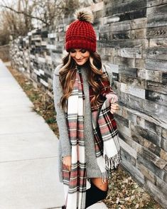 fashion style outfits with scarves. Pom Pom beanies outfit Fall fashion style outfits with scarves.Fall fashion style outfits with scarves. Pom Pom beanies outfit Fall fashion style outfits with scarves. Style Outfits, Dress Outfits, Casual Outfits, Cute Outfits, Sweater Dress Outfit, Outfits 2016, Plaid Scarf Outfit, Outfit With Beanie, Fashion Dresses