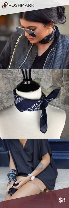 Navy blue bandana handkerchief Please see the second picture for this brand new, retail item. As seen on Kylie Jenner in the covershot- wear it around your neck, wear it as a hair tie, wear it as a wristlet/bracelet, tie it to your purse, the possibilities are absolutely endless! 100% cotton. Navy blue bandana handkerchief Boutique Accessories Scarves & Wraps