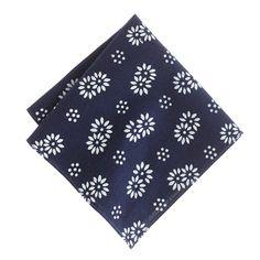Indigo floral pocket square