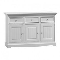 Dřevěná komoda z masivu Belluno Elegante bílá / dub Sideboard, Buffet, Drawers, Police, Dining Room, Cabinet, Storage, Furniture, Home Decor
