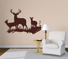 Deer Wall Decals | Wall Decal Deer in Grassy Meadow Style