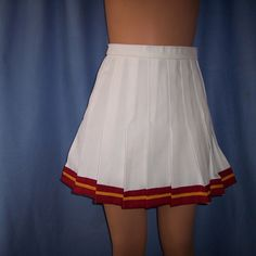 Cheerleader Usc Gold White Skirt Uniform Football Game Costume... ($33) ❤ liked on Polyvore featuring white and women's clothing